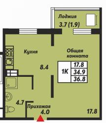 1комн36,80м2