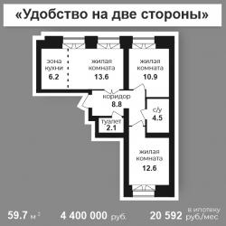 2 ком. 59,7 м2