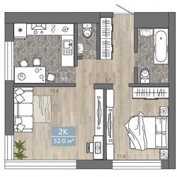 2 комнатная 52 м2