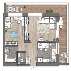 2 комнатная 55 м2