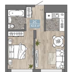 2 комнатная Студия 42,6 м2