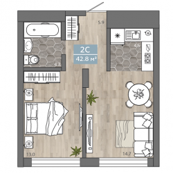 2 комнатная Студия 42,8 м2