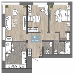 3 комнатная 66,1 м2